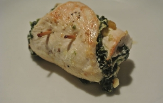 Chicken rolls filled with spinach