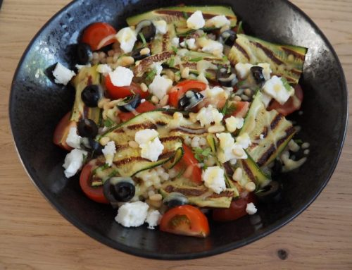 Israeli couscous with grilled zucchini