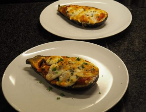 Filled eggplant; perfect vegetarian main dish