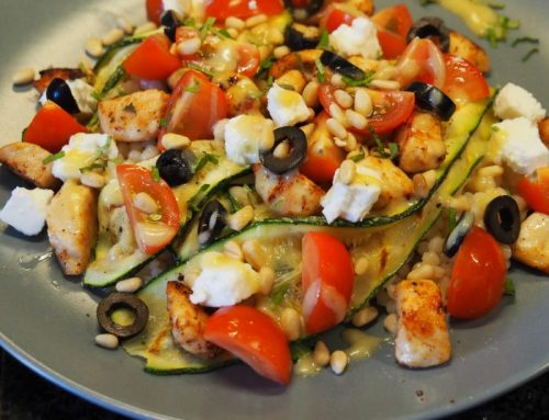 Israeli couscous with chicken and grilled zucchini