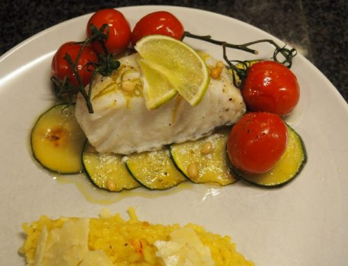Cod package with saffron risotto