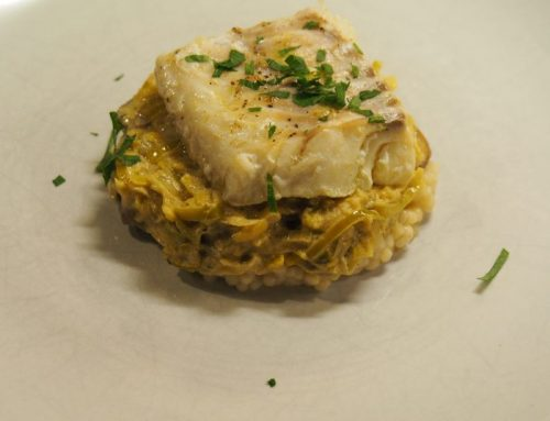 Cod with Israeli couscous and mustard-leek sauce