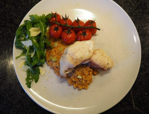 Poached redfish with red pesto couscous