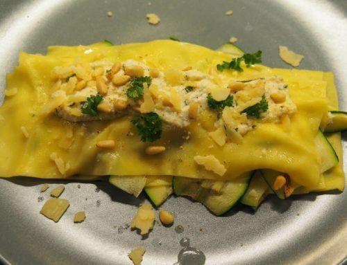Vegetarian open lasagna with grilled veggies