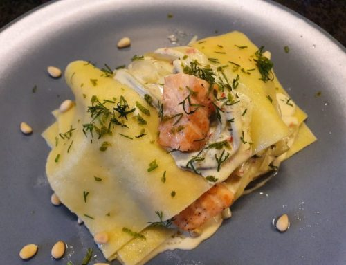 Open lasagna with salmon and zucchini