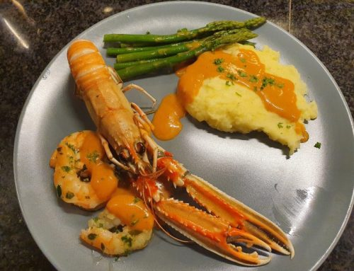 Norway lobsters with a smooth lobster sauce