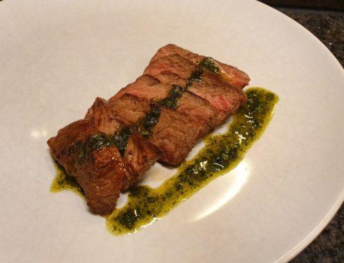 Steak with herbal oil