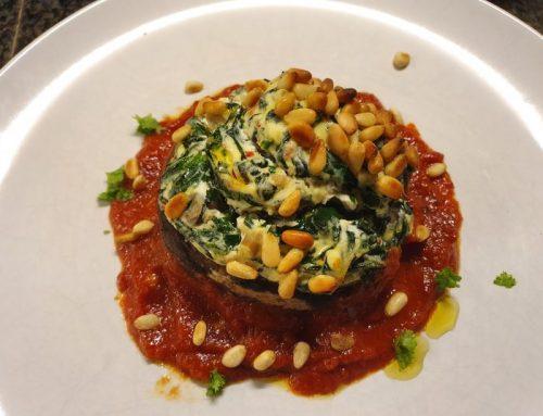 Portobello with spinach, mushrooms and ricotta
