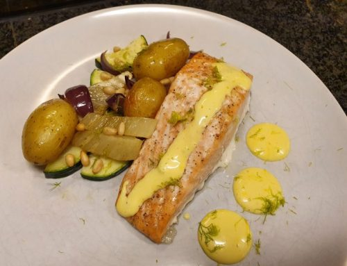 Easy spring traybake with fennel and salmon